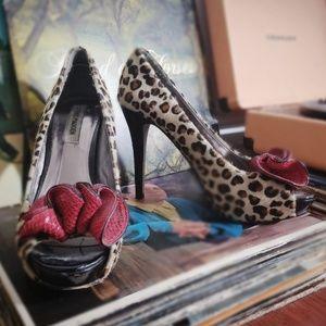 Leopard Print Steve Madden Open-toed Pumps